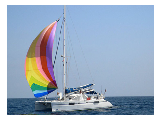 Pacific Bliss Flying Multi colored Spinnaker