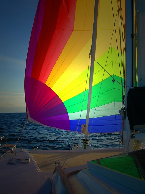 Many times we used our beautiful multicolored spinnaker as we made our way along our circumnavigation of the globe.