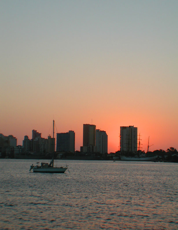 a Yacht sails Against the Cartagena Skyline