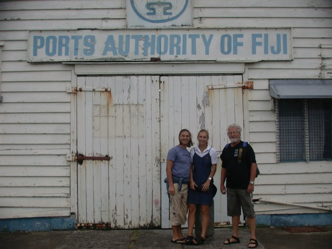Helmut Lydia and Gunter at the Customs office in Levuka, Fiji